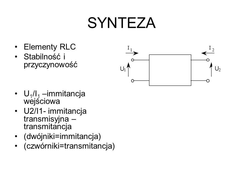 SYNTEZA Elementy RLC Stabilność i przyczynowość