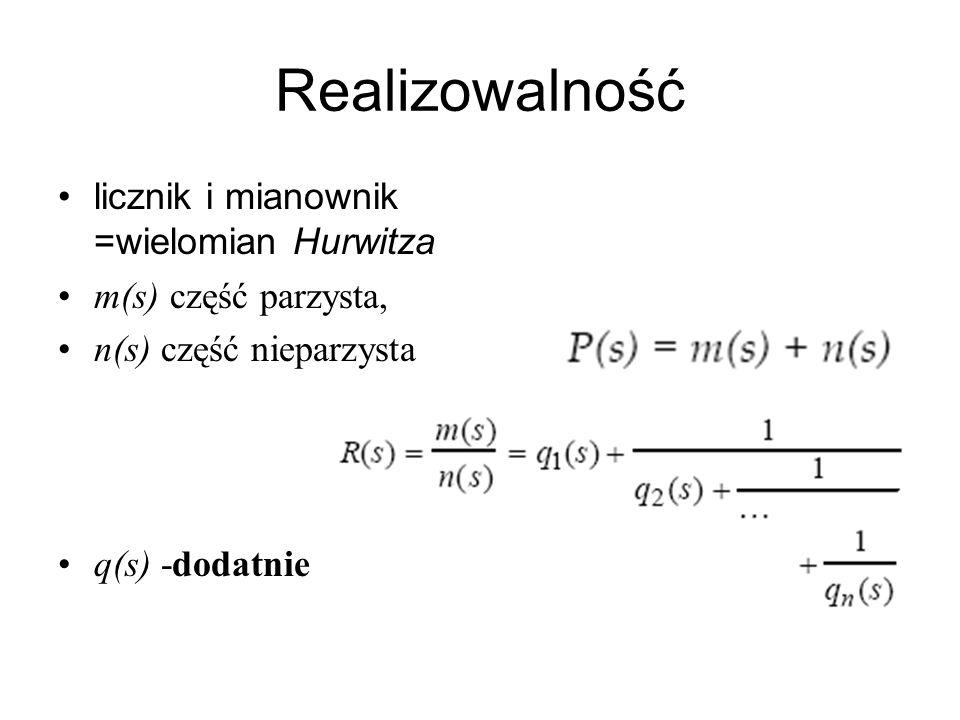 Realizowalność licznik i mianownik =wielomian Hurwitza