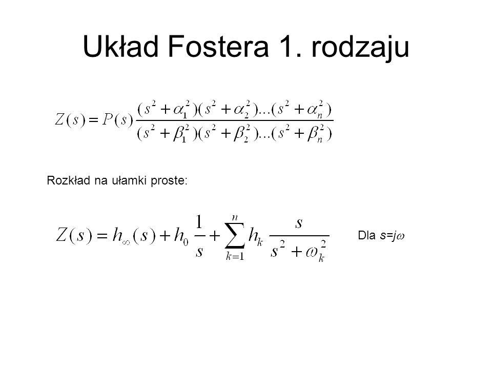 Układ Fostera 1. rodzaju Rozkład na ułamki proste: Dla s=jw