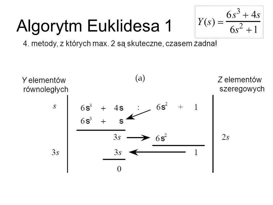 Algorytm Euklidesa 1 4. metody, z których max. 2 są skuteczne, czasem żadna! Y elementów. równoległych.