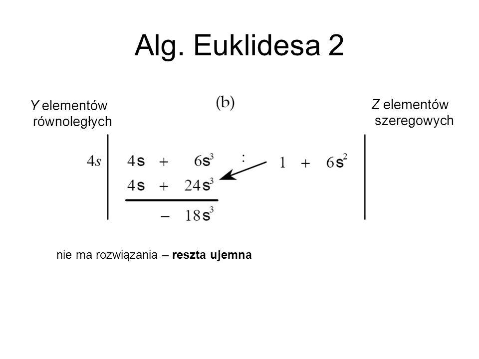 Alg. Euklidesa 2 Y elementów Z elementów równoległych szeregowych