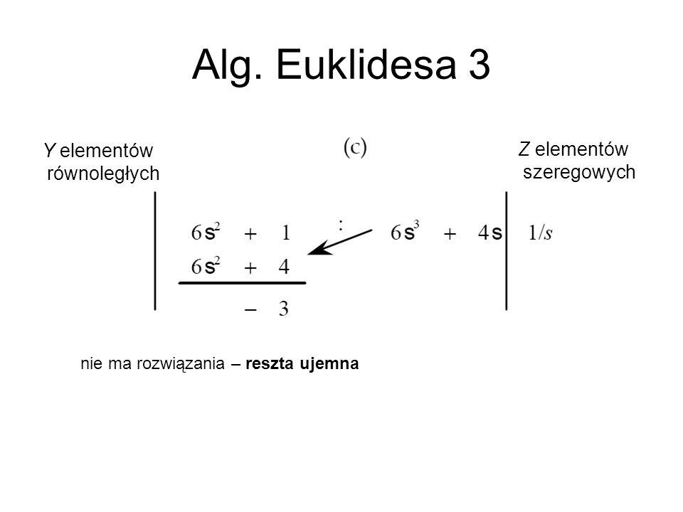Alg. Euklidesa 3 Y elementów Z elementów równoległych szeregowych