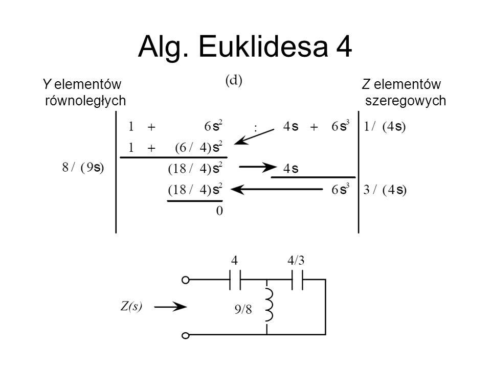 Alg. Euklidesa 4 Y elementów równoległych Z elementów szeregowych