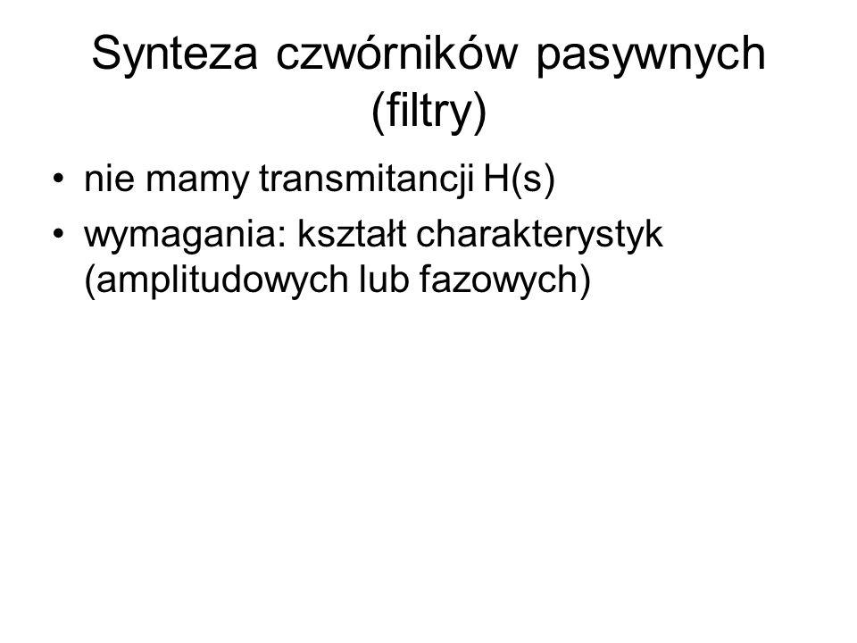 Synteza czwórników pasywnych (filtry)