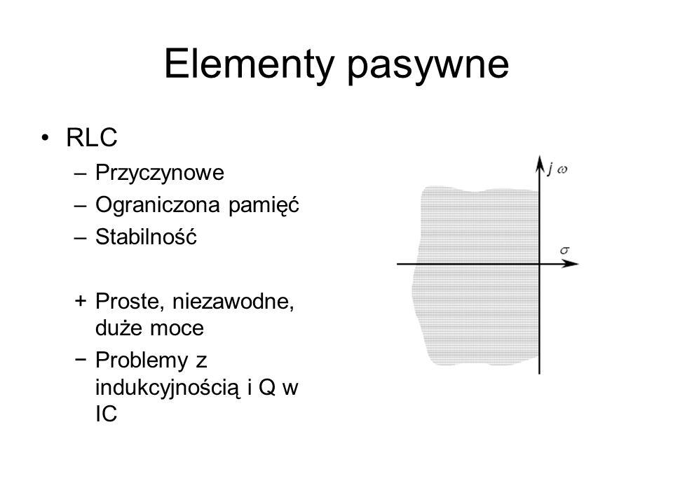 Elementy pasywne RLC Przyczynowe Ograniczona pamięć Stabilność