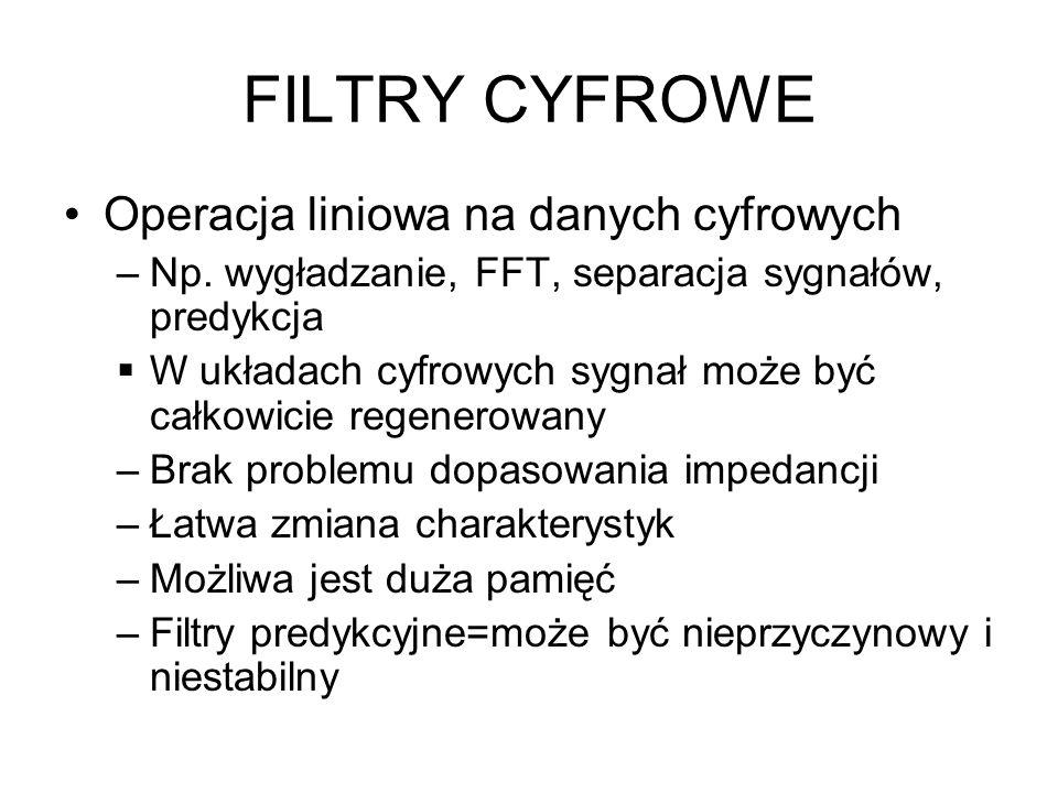 FILTRY CYFROWE Operacja liniowa na danych cyfrowych