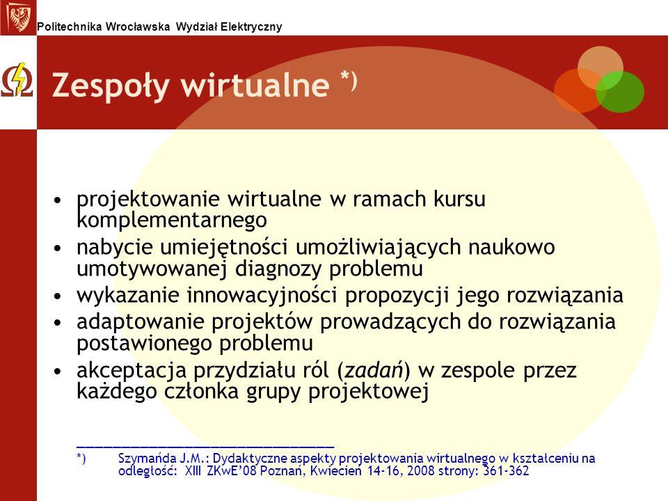 Zespoły wirtualne *) projektowanie wirtualne w ramach kursu komplementarnego.