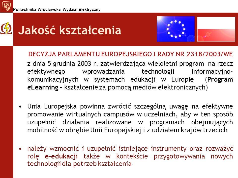 Jakość kształcenia DECYZJA PARLAMENTU EUROPEJSKIEGO I RADY NR 2318/2003/WE.