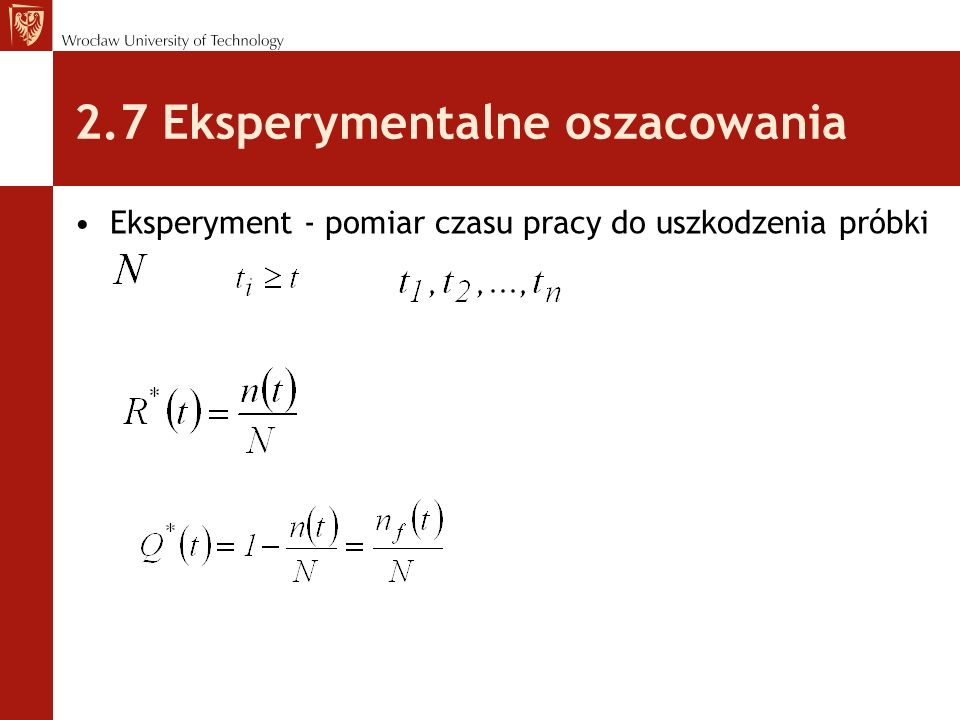 2.7 Eksperymentalne oszacowania