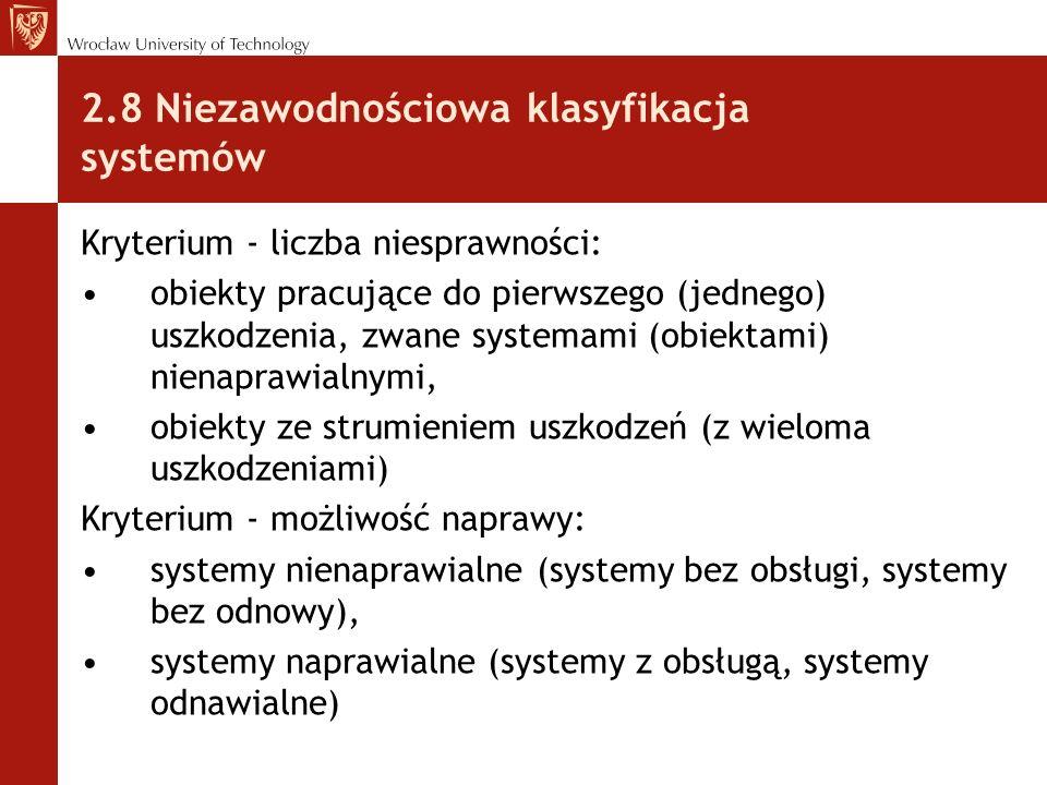 2.8 Niezawodnościowa klasyfikacja systemów