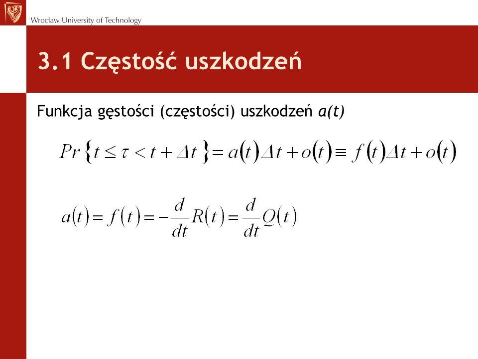 3.1 Częstość uszkodzeń Funkcja gęstości (częstości) uszkodzeń a(t)
