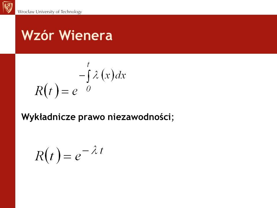 Wzór Wienera Wykładnicze prawo niezawodności;