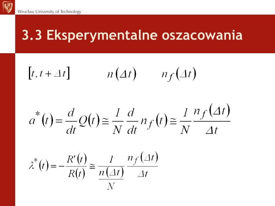 3.3 Eksperymentalne oszacowania
