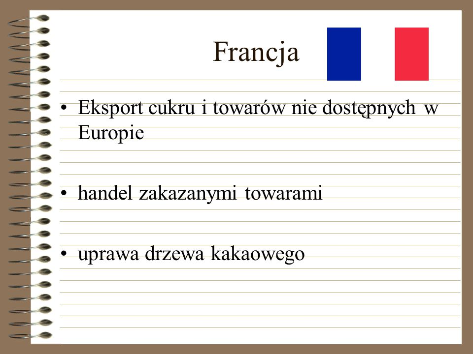 Francja Eksport cukru i towarów nie dostępnych w Europie