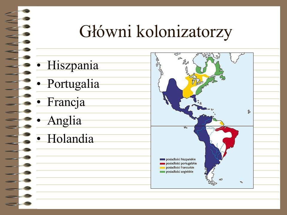 Główni kolonizatorzy Hiszpania Portugalia Francja Anglia Holandia