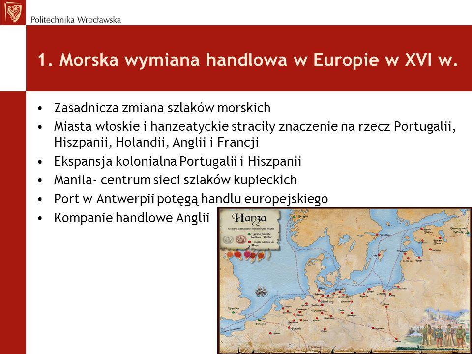 1. Morska wymiana handlowa w Europie w XVI w.