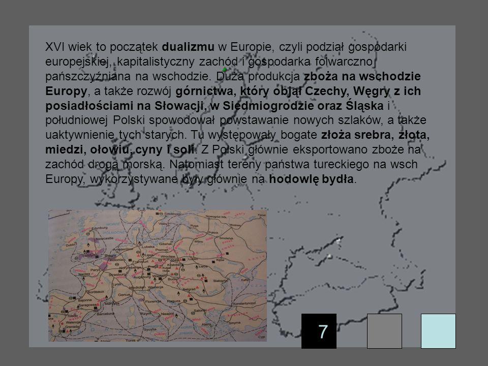 XVI wiek to początek dualizmu w Europie, czyli podział gospodarki europejskiej, kapitalistyczny zachód i gospodarka folwarczno pańszczyźniana na wschodzie. Duża produkcja zboża na wschodzie Europy, a także rozwój górnictwa, który objął Czechy, Węgry z ich posiadłościami na Słowacji, w Siedmiogrodzie oraz Śląska i południowej Polski spowodował powstawanie nowych szlaków, a także uaktywnienie tych starych. Tu występowały bogate złoża srebra, złota, miedzi, ołowiu, cyny i soli. Z Polski głównie eksportowano zboże na zachód drogą morską. Natomiast tereny państwa tureckiego na wsch Europy, wykorzystywane były głównie na hodowlę bydła.