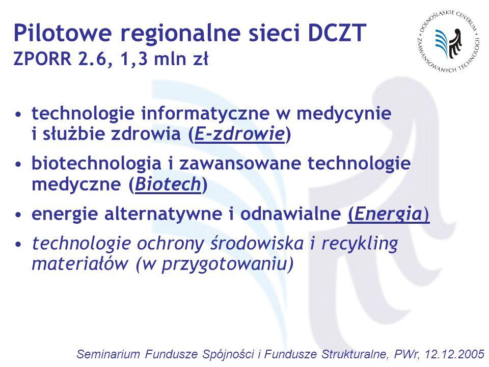Pilotowe regionalne sieci DCZT ZPORR 2.6, 1,3 mln zł