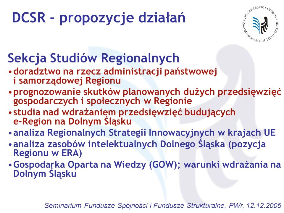 DCSR - propozycje działań
