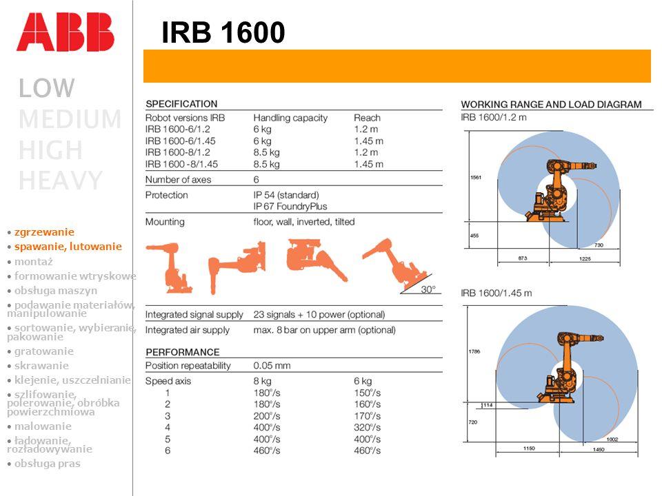 IRB 1600 LOW MEDIUM HIGH HEAVY zgrzewanie spawanie, lutowanie montaż