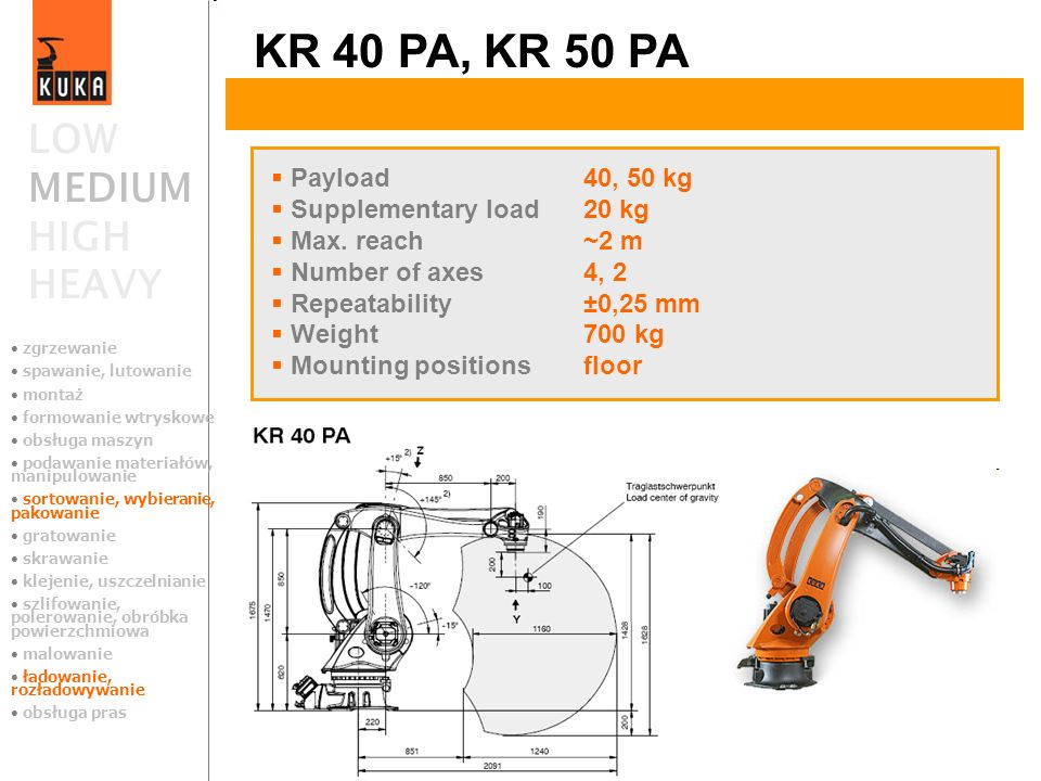 KR 40 PA, KR 50 PA LOW MEDIUM HIGH HEAVY Payload 40, 50 kg