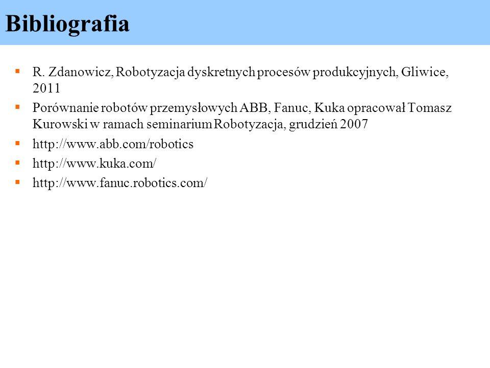 Bibliografia R. Zdanowicz, Robotyzacja dyskretnych procesów produkcyjnych, Gliwice, 2011.
