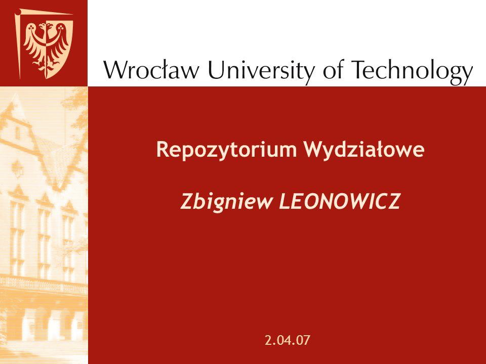 Repozytorium Wydziałowe Zbigniew LEONOWICZ