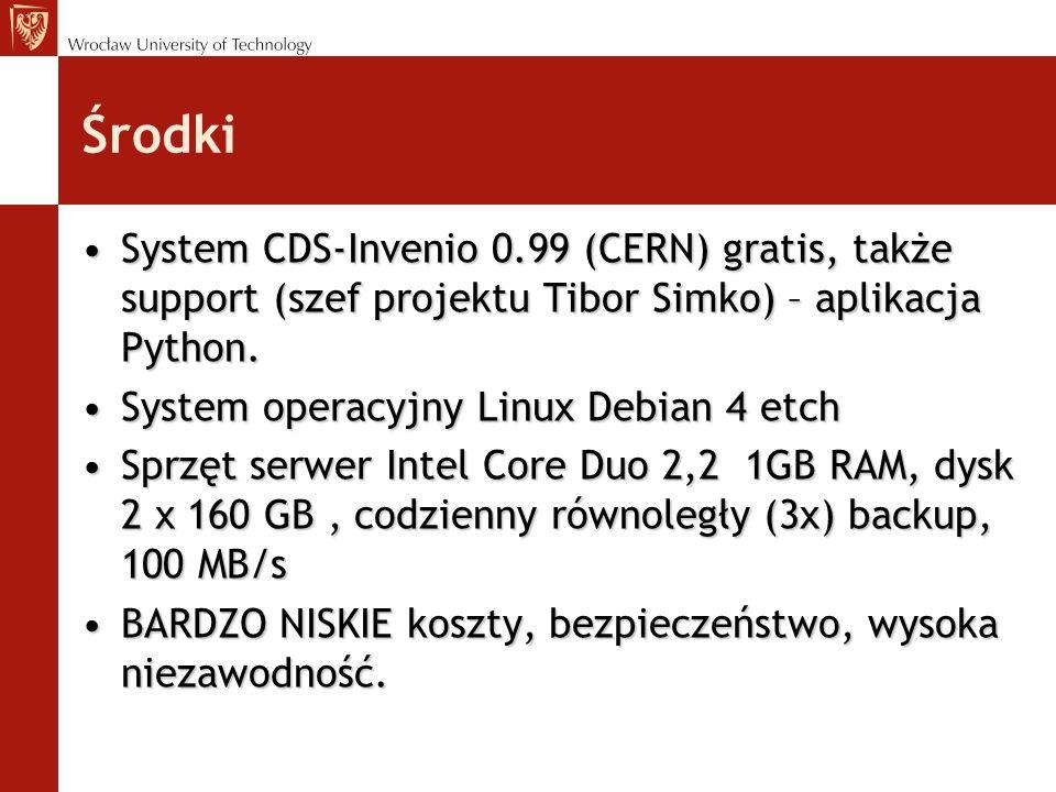 Środki System CDS-Invenio 0.99 (CERN) gratis, także support (szef projektu Tibor Simko) – aplikacja Python.