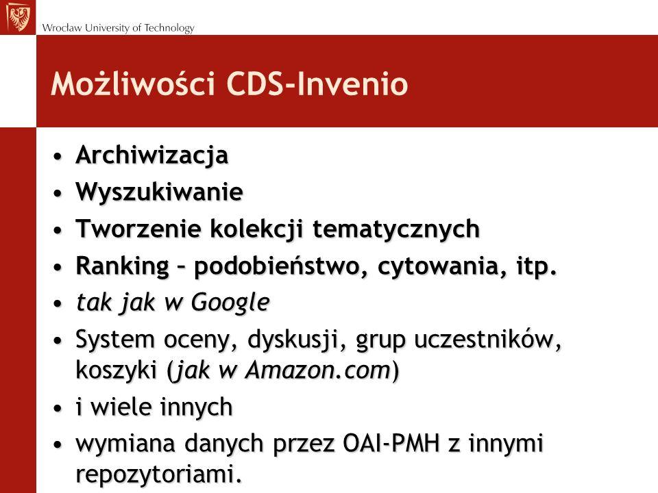 Możliwości CDS-Invenio