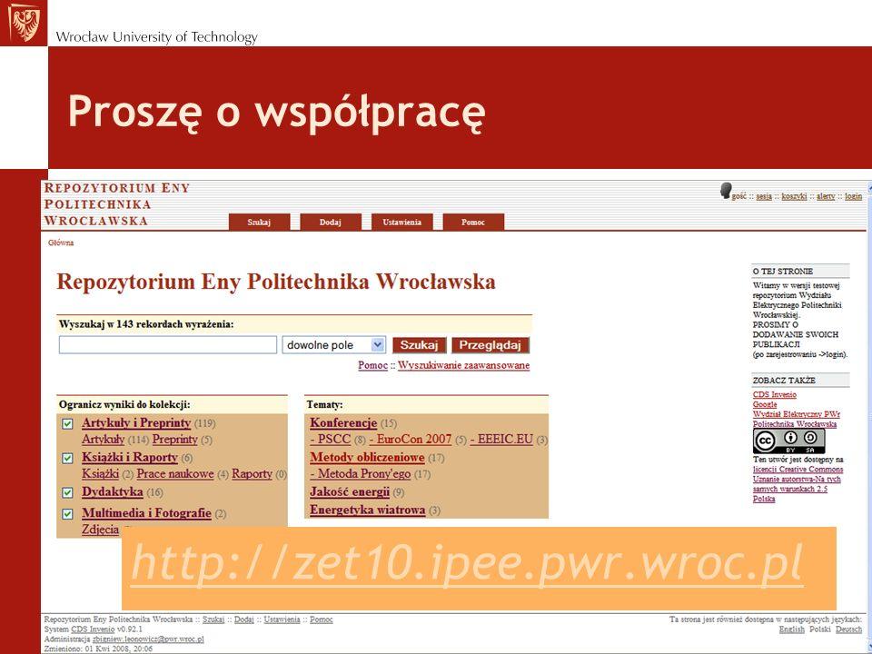 Proszę o współpracę http://zet10.ipee.pwr.wroc.pl