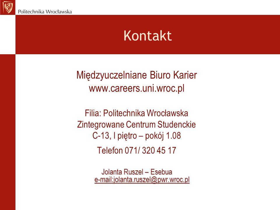 Kontakt Międzyuczelniane Biuro Karier www.careers.uni.wroc.pl