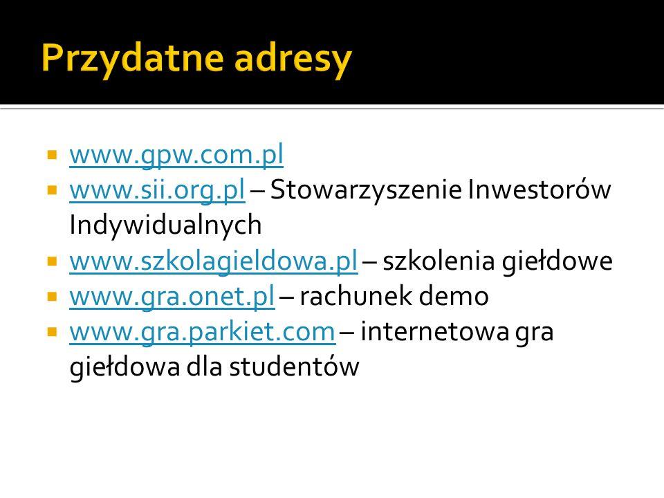 Przydatne adresy www.gpw.com.pl