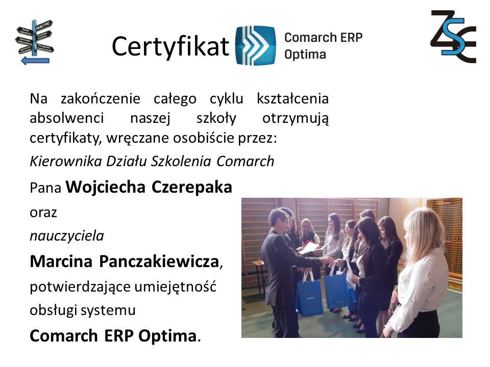 Certyfikat Marcina Panczakiewicza, Comarch ERP Optima.