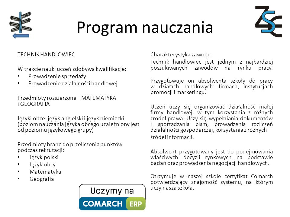Program nauczania TECHNIK HANDLOWIEC