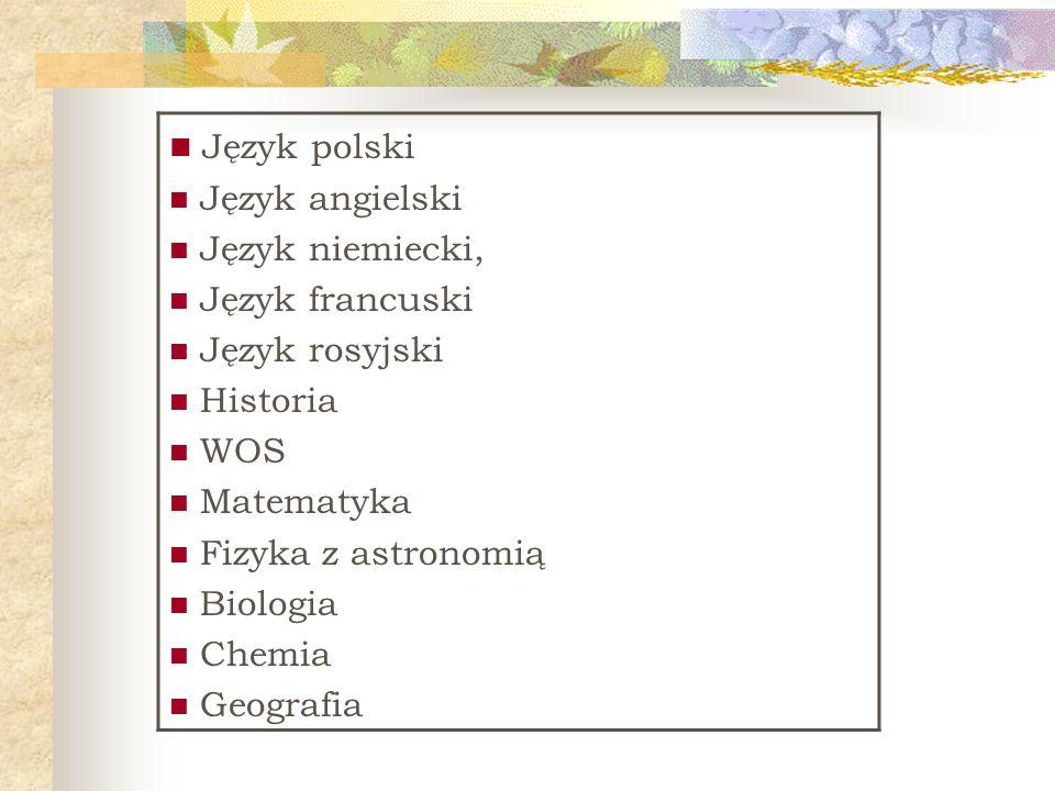 Język polski Język angielski Język niemiecki, Język francuski