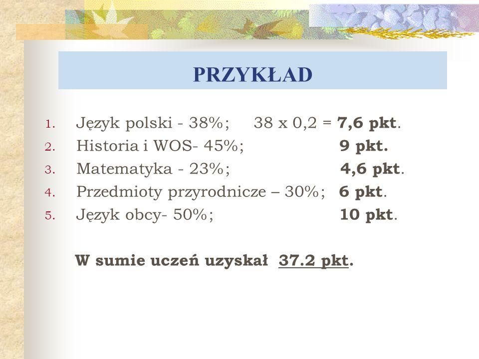 PRZYKŁAD Język polski - 38%; 38 x 0,2 = 7,6 pkt.