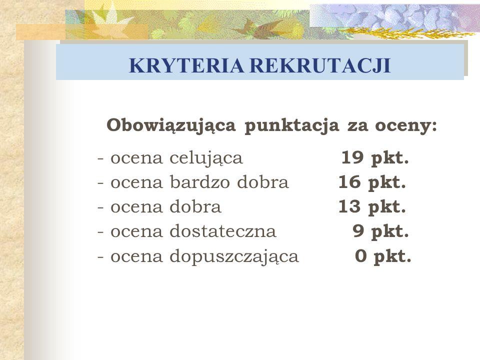 KRYTERIA REKRUTACJI Obowiązująca punktacja za oceny: