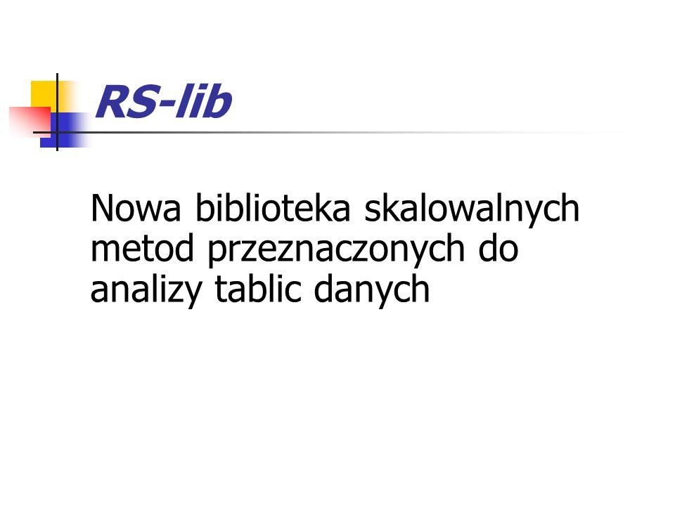 RS-lib Nowa biblioteka skalowalnych metod przeznaczonych do analizy tablic danych