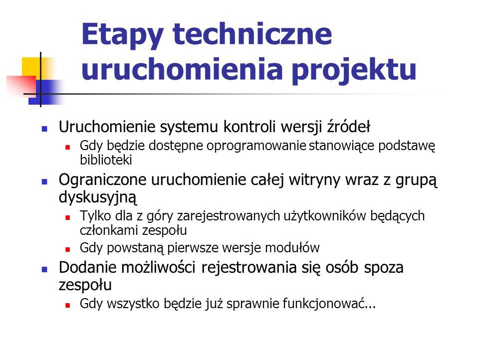 Etapy techniczne uruchomienia projektu