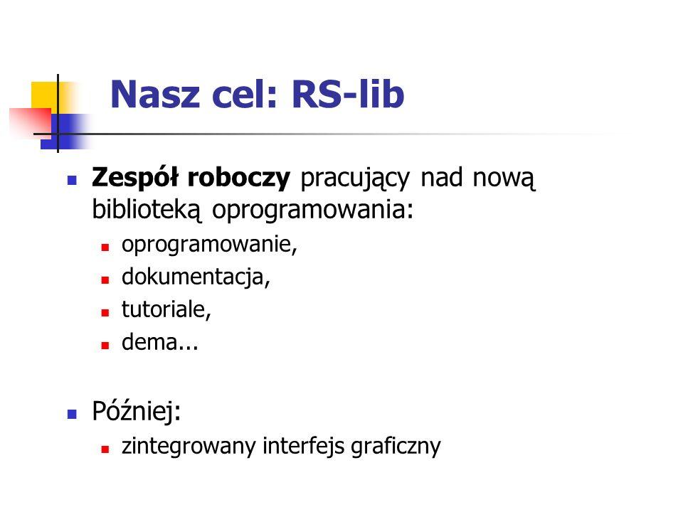 Nasz cel: RS-lib Zespół roboczy pracujący nad nową biblioteką oprogramowania: oprogramowanie, dokumentacja,
