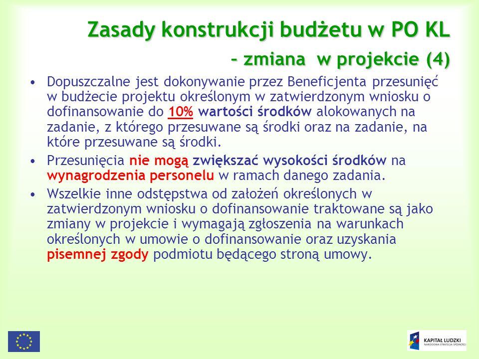 Zasady konstrukcji budżetu w PO KL – zmiana w projekcie (4)
