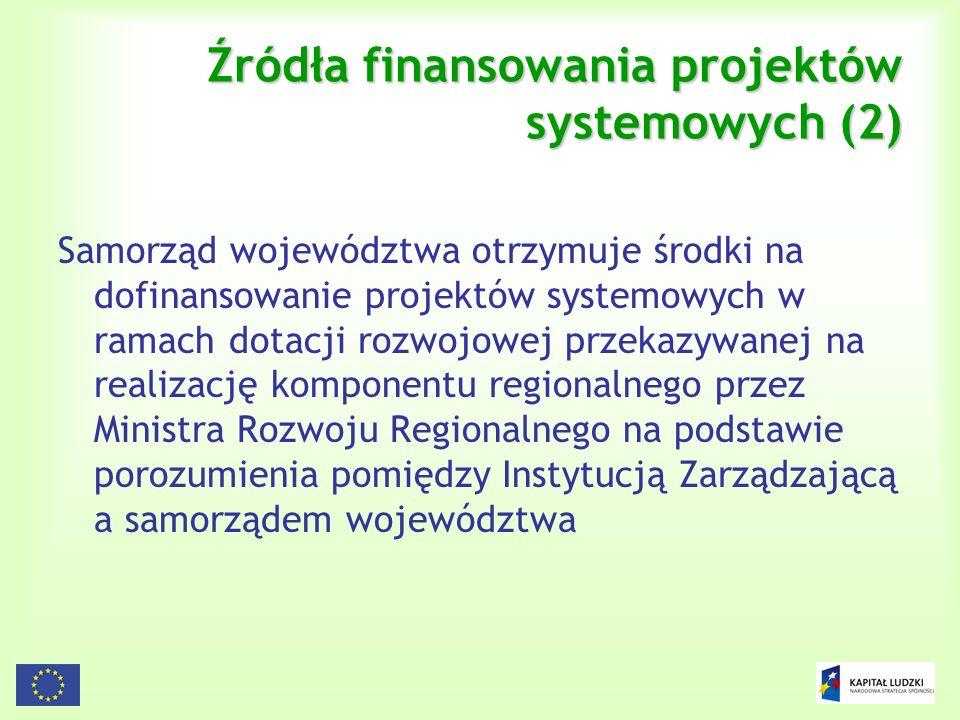 Źródła finansowania projektów systemowych (2)