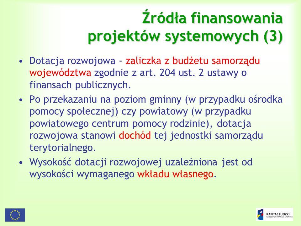 Źródła finansowania projektów systemowych (3)