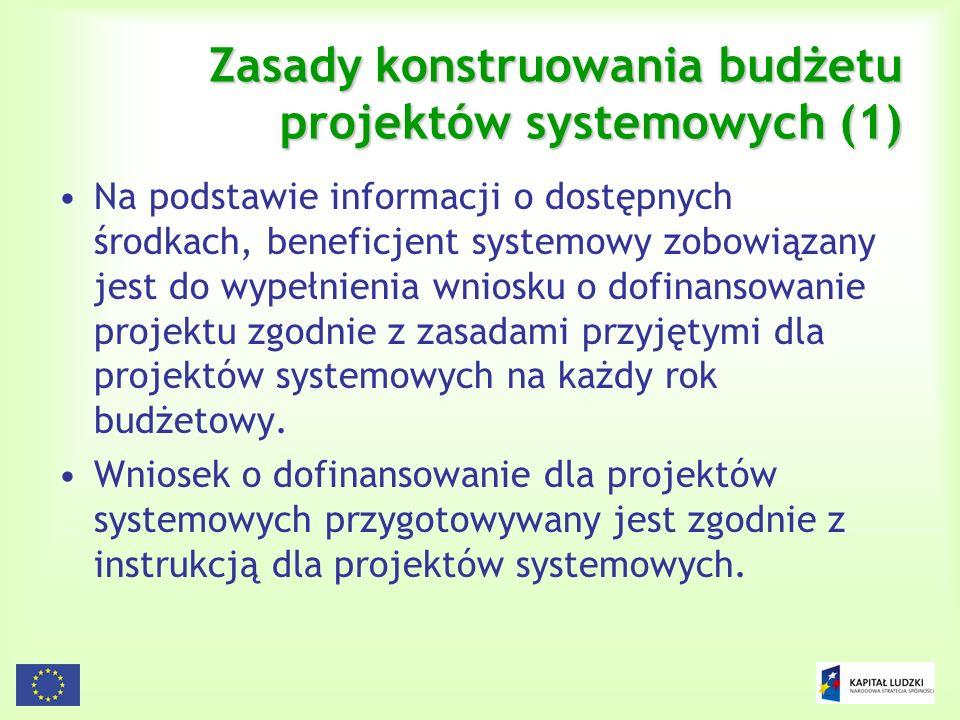 Zasady konstruowania budżetu projektów systemowych (1)