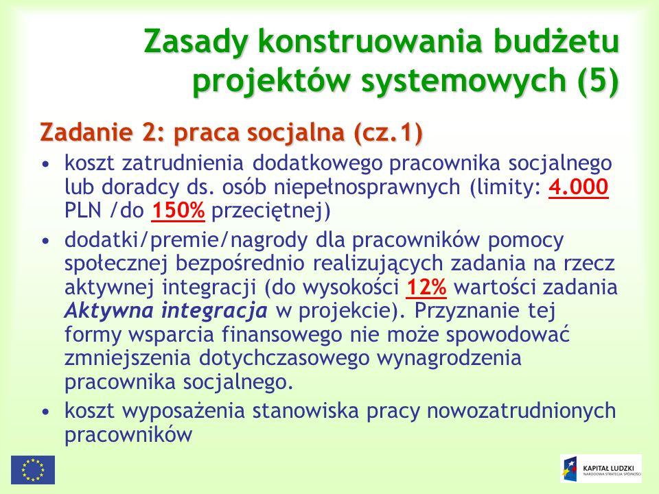 Zasady konstruowania budżetu projektów systemowych (5)