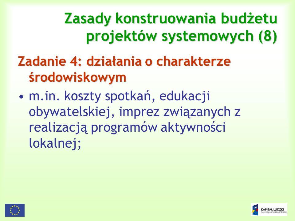 Zasady konstruowania budżetu projektów systemowych (8)