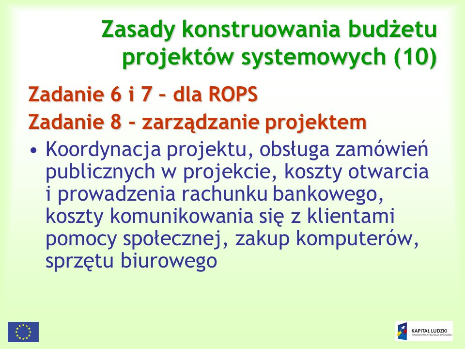 Zasady konstruowania budżetu projektów systemowych (10)