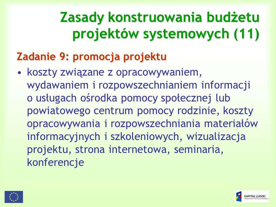 Zasady konstruowania budżetu projektów systemowych (11)