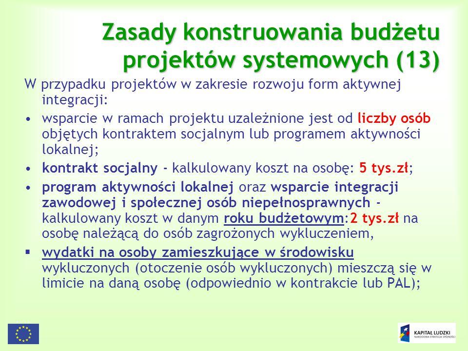 Zasady konstruowania budżetu projektów systemowych (13)