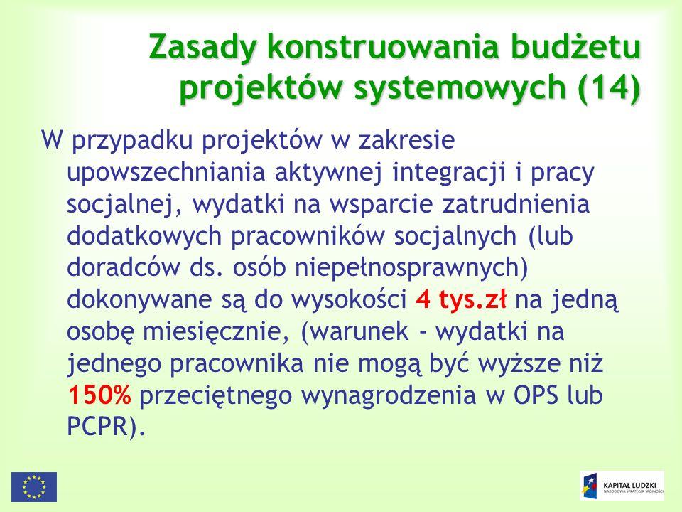 Zasady konstruowania budżetu projektów systemowych (14)